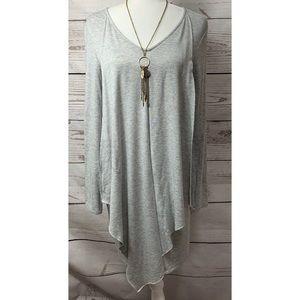 NWOT Kensie Gray Asymmetrical Draped Dress Small